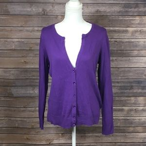 NY&Company Purple Button Down Sweater Cardigan